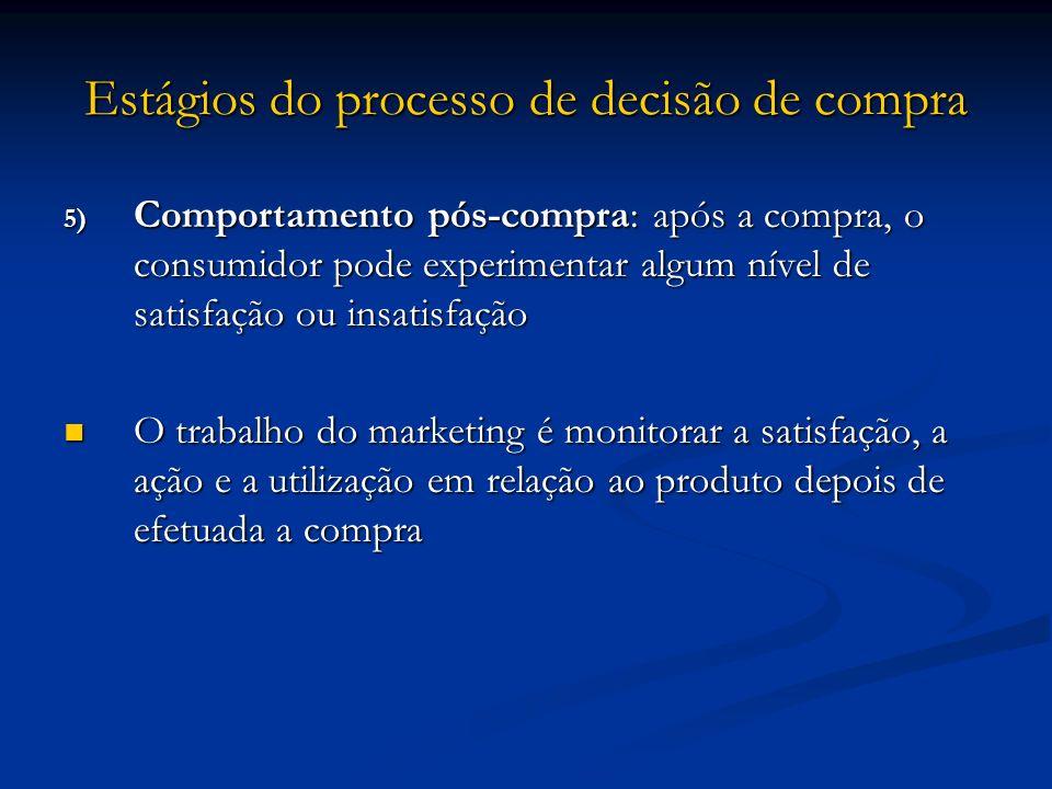 Estágios do processo de decisão de compra 5) Comportamento pós-compra: após a compra, o consumidor pode experimentar algum nível de satisfação ou insa