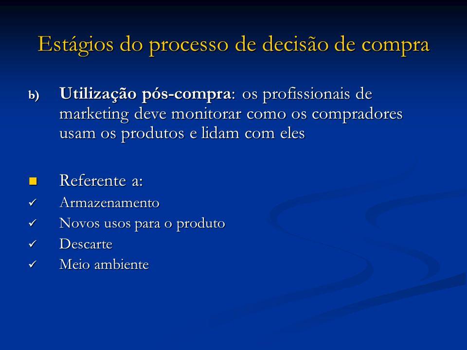 Estágios do processo de decisão de compra b) Utilização pós-compra: os profissionais de marketing deve monitorar como os compradores usam os produtos