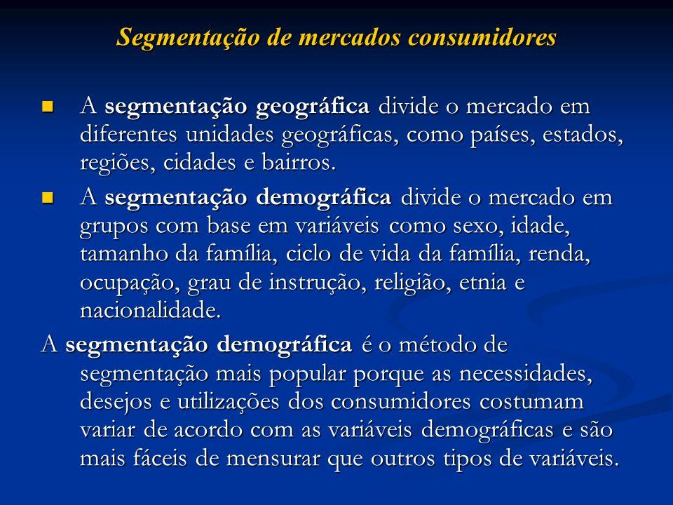 Segmentação de mercados consumidores A segmentação geográfica divide o mercado em diferentes unidades geográficas, como países, estados, regiões, cida