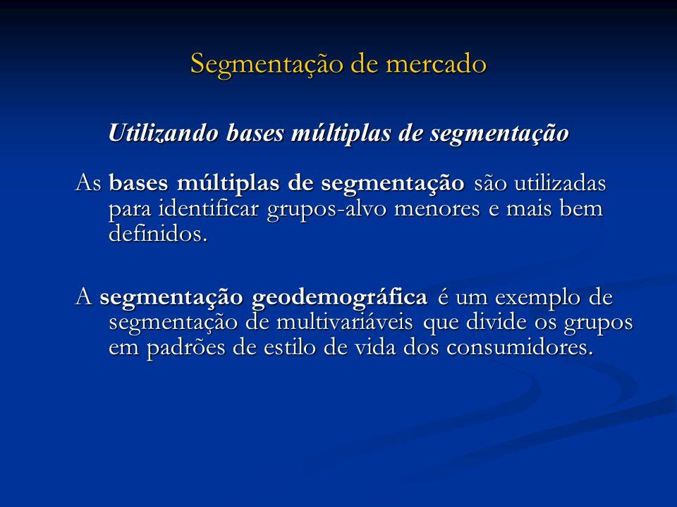 Segmentação de mercado Utilizando bases múltiplas de segmentação As bases múltiplas de segmentação são utilizadas para identificar grupos-alvo menores