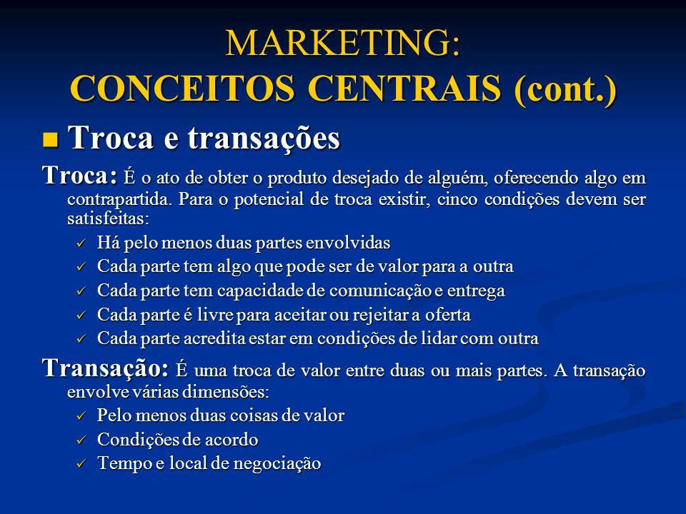 MARKETING: CONCEITOS CENTRAIS (cont.) Troca e transações Troca e transações Troca: É o ato de obter o produto desejado de alguém, oferecendo algo em c
