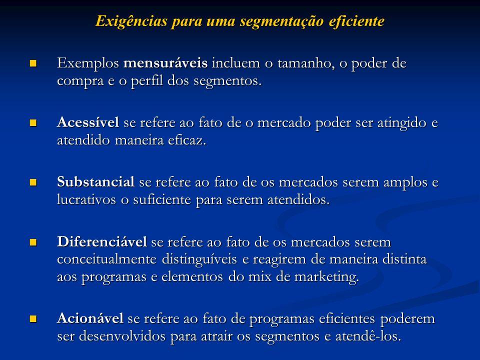 Exigências para uma segmentação eficiente Exemplos mensuráveis incluem o tamanho, o poder de compra e o perfil dos segmentos. Exemplos mensuráveis inc