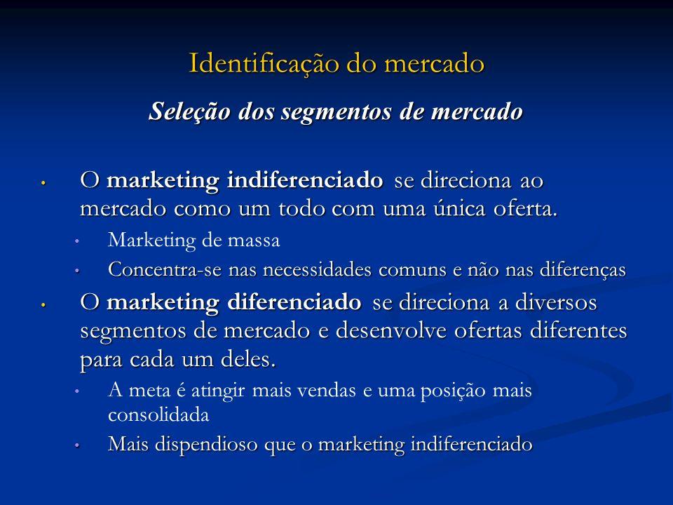 Identificação do mercado Seleção dos segmentos de mercado O marketing indiferenciado se direciona ao mercado como um todo com uma única oferta. O mark