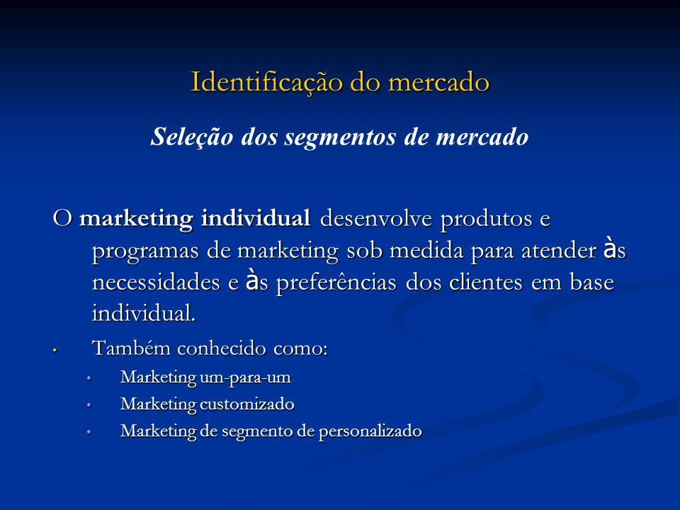 Identificação do mercado O marketing individual desenvolve produtos e programas de marketing sob medida para atender à s necessidades e à s preferênci