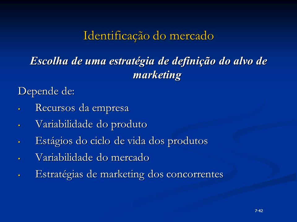 Identificação do mercado Escolha de uma estratégia de definição do alvo de marketing Depende de: Recursos da empresa Recursos da empresa Variabilidade