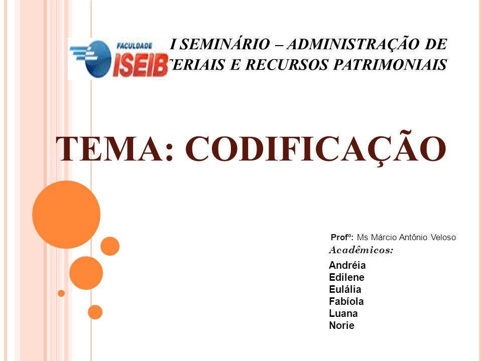 I SEMINÁRIO – ADMINISTRAÇÃO DE MATERIAIS E RECURSOS PATRIMONIAIS TEMA: CODIFICAÇÃO Acadêmicos: Andréia Edilene Eulália Fabíola Luana Norie Profº: Ms M