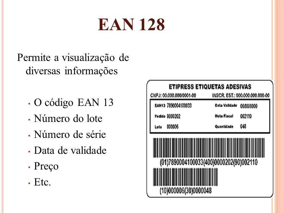 EAN 128 Permite a visualização de diversas informações O código EAN 13 Número do lote Número de série Data de validade Preço Etc.
