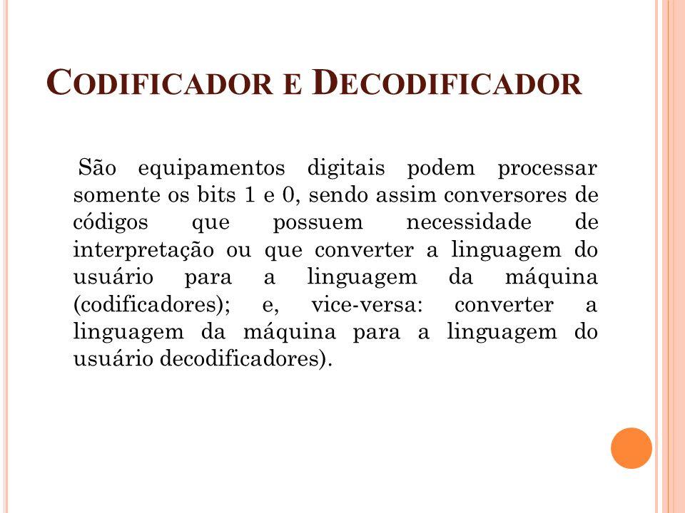C ODIFICADOR E D ECODIFICADOR São equipamentos digitais podem processar somente os bits 1 e 0, sendo assim conversores de códigos que possuem necessid