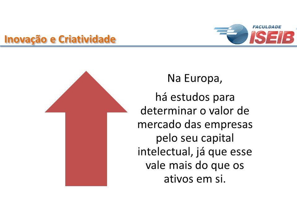 Inovação e Criatividade Na Europa, há estudos para determinar o valor de mercado das empresas pelo seu capital intelectual, já que esse vale mais do q