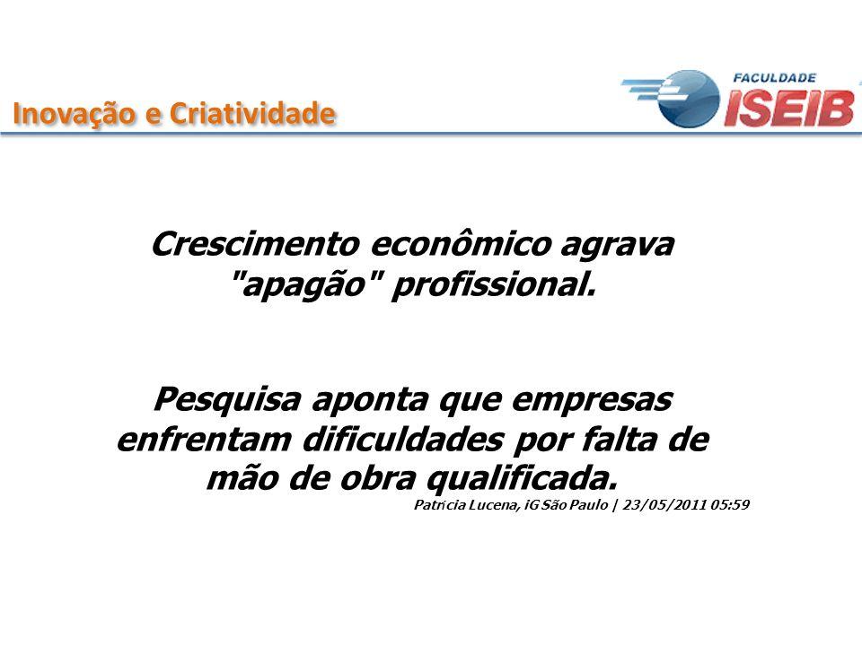 Inovação e Criatividade O forte ritmo de crescimento econômico do Brasil tem agravado a falta de mão de obra qualificada.