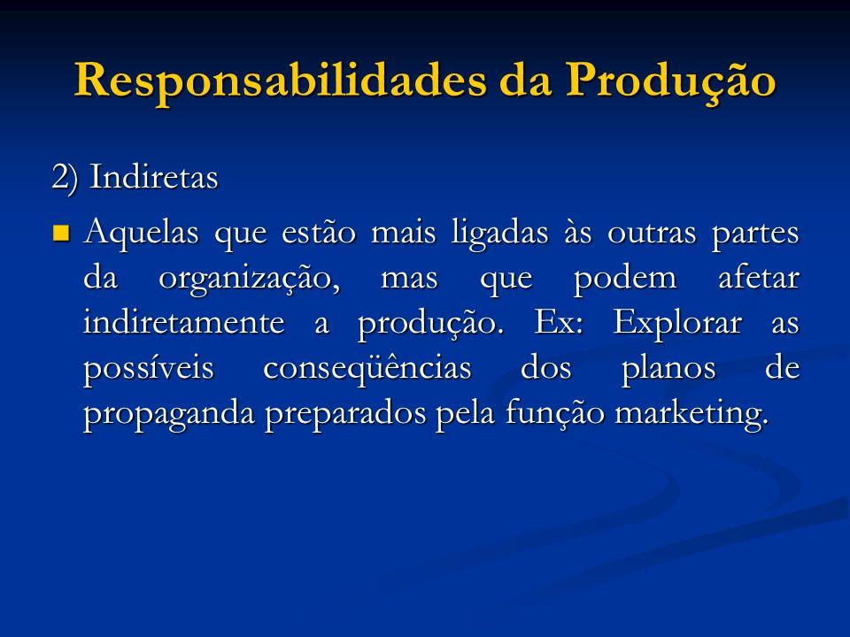 Responsabilidades da Produção 2) Indiretas Aquelas que estão mais ligadas às outras partes da organização, mas que podem afetar indiretamente a produç