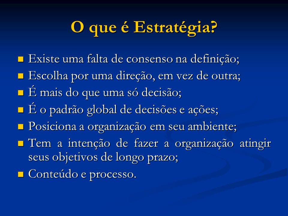 O que é Estratégia? Existe uma falta de consenso na definição; Existe uma falta de consenso na definição; Escolha por uma direção, em vez de outra; Es