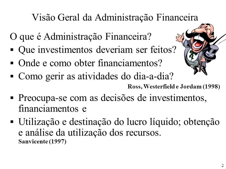 2 Visão Geral da Administração Financeira O que é Administração Financeira? Que investimentos deveriam ser feitos? Onde e como obter financiamentos? C
