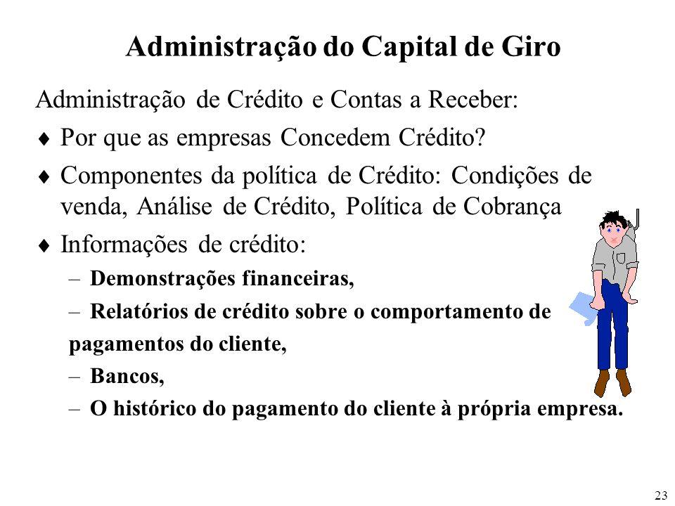 23 Administração do Capital de Giro Administração de Crédito e Contas a Receber: Por que as empresas Concedem Crédito? Componentes da política de Créd