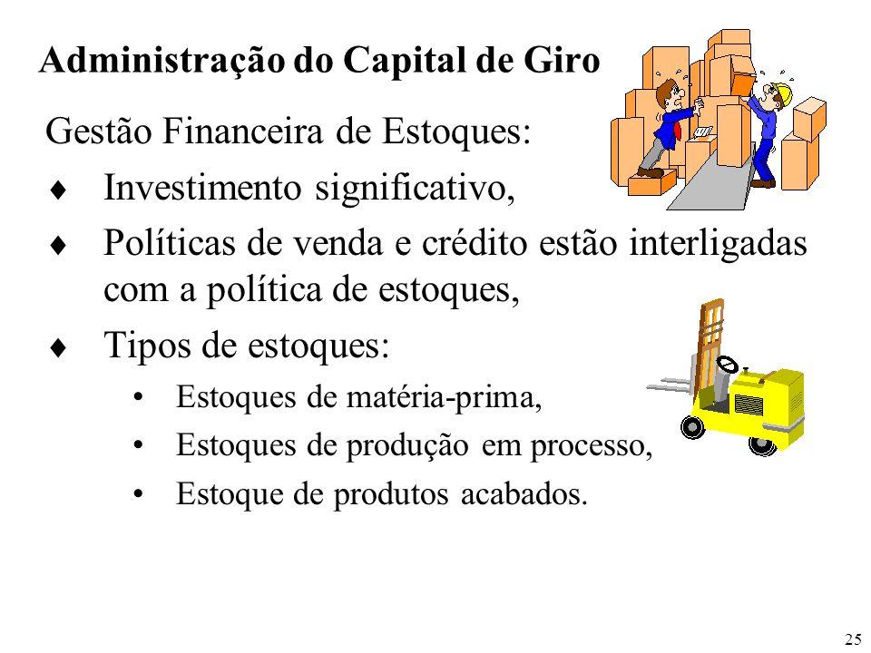 25 Administração do Capital de Giro Gestão Financeira de Estoques: Investimento significativo, Políticas de venda e crédito estão interligadas com a p