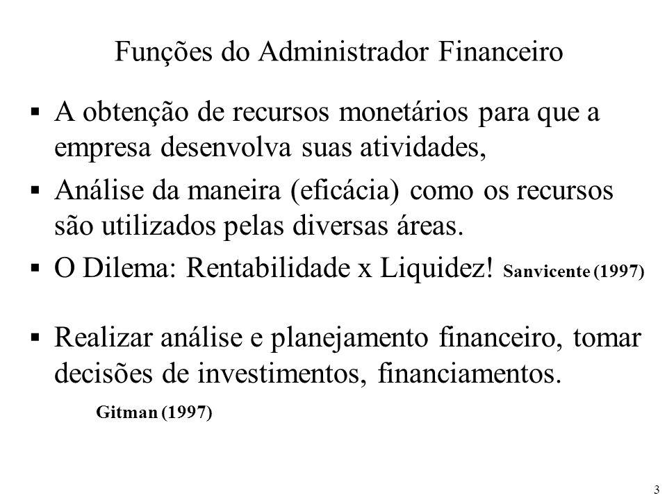 3 Funções do Administrador Financeiro A obtenção de recursos monetários para que a empresa desenvolva suas atividades, Análise da maneira (eficácia) c