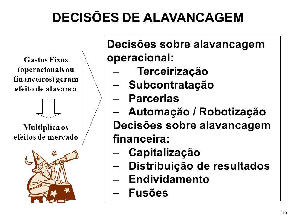 36 DECISÕES DE ALAVANCAGEM Decisões sobre alavancagem operacional: – Terceirização – Subcontratação – Parcerias – Automação / Robotização Decisões sob
