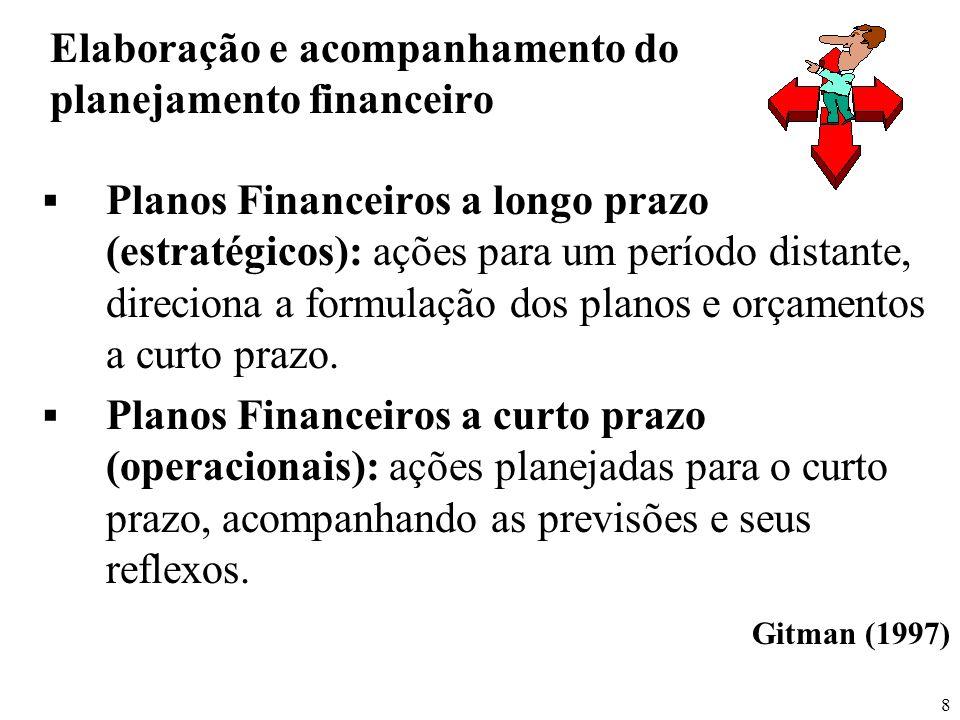 8 Elaboração e acompanhamento do planejamento financeiro Planos Financeiros a longo prazo (estratégicos): ações para um período distante, direciona a