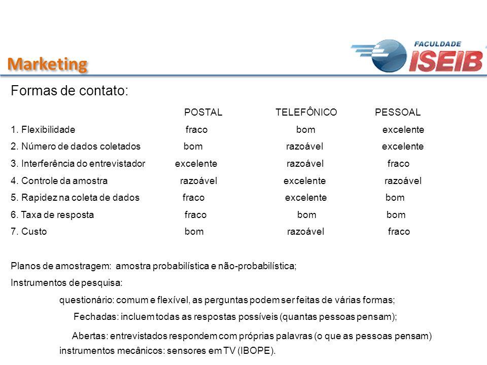 Marketing Formas de contato: POSTAL TELEFÔNICO PESSOAL 1. Flexibilidade fraco bom excelente 2. Número de dados coletados bom razoável excelente 3. Int