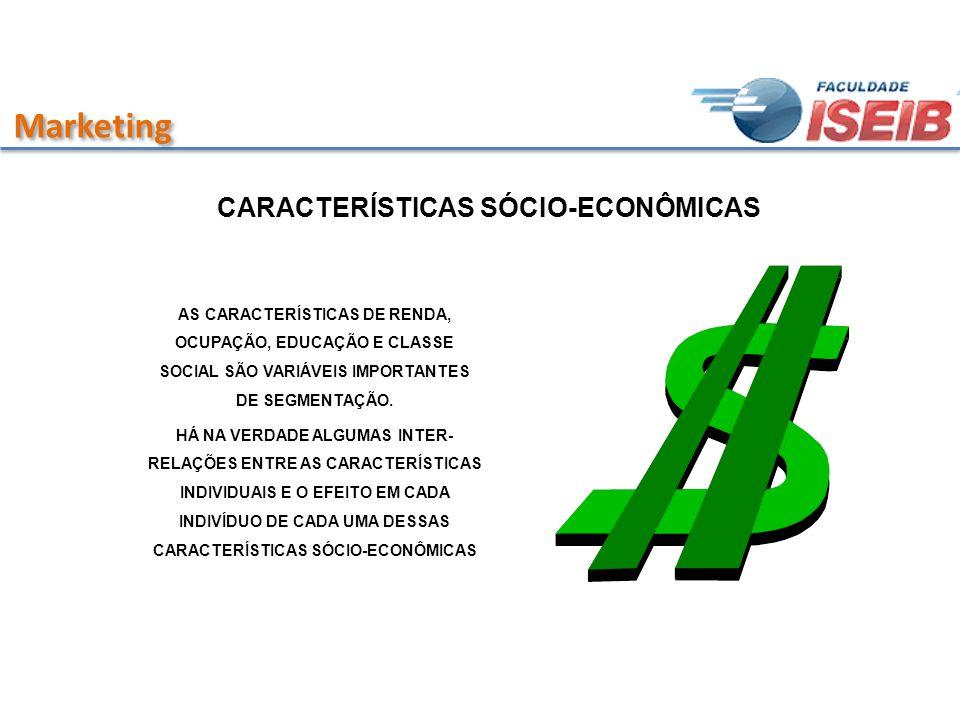 Marketing CARACTERÍSTICAS SÓCIO-ECONÔMICAS AS CARACTERÍSTICAS DE RENDA, OCUPAÇÃO, EDUCAÇÃO E CLASSE SOCIAL SÃO VARIÁVEIS IMPORTANTES DE SEGMENTAÇÃO. H