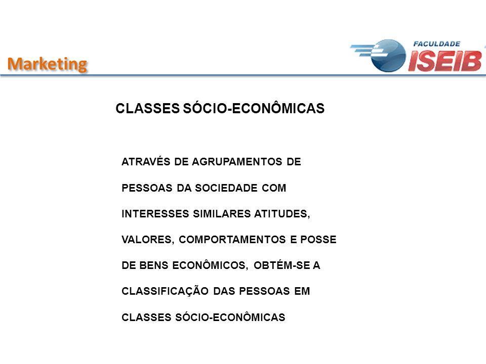 Marketing CLASSES SÓCIO-ECONÔMICAS ATRAVÉS DE AGRUPAMENTOS DE PESSOAS DA SOCIEDADE COM INTERESSES SIMILARES ATITUDES, VALORES, COMPORTAMENTOS E POSSE