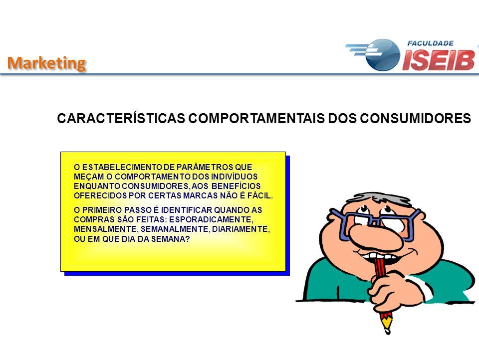 Marketing CARACTERÍSTICAS COMPORTAMENTAIS DOS CONSUMIDORES O ESTABELECIMENTO DE PARÂMETROS QUE MEÇAM O COMPORTAMENTO DOS INDIVÍDUOS ENQUANTO CONSUMIDO