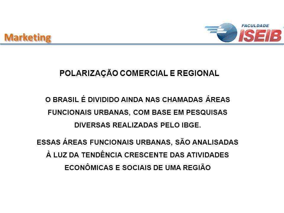 Marketing POLARIZAÇÃO COMERCIAL E REGIONAL O BRASIL É DIVIDIDO AINDA NAS CHAMADAS ÁREAS FUNCIONAIS URBANAS, COM BASE EM PESQUISAS DIVERSAS REALIZADAS