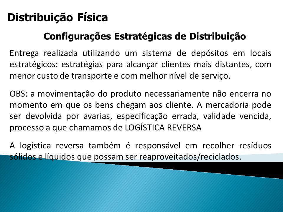 Distribuição Física Configurações Estratégicas de Distribuição Entrega realizada utilizando um sistema de depósitos em locais estratégicos: estratégia