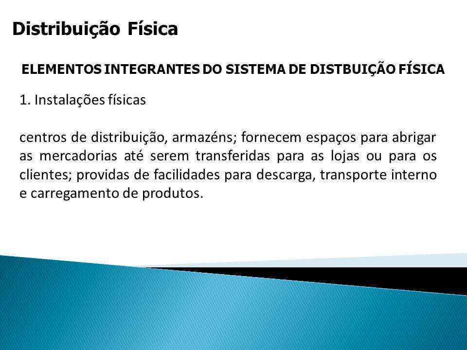 Distribuição Física ELEMENTOS INTEGRANTES DO SISTEMA DE DISTBUIÇÃO FÍSICA 1. Instalações físicas centros de distribuição, armazéns; fornecem espaços p