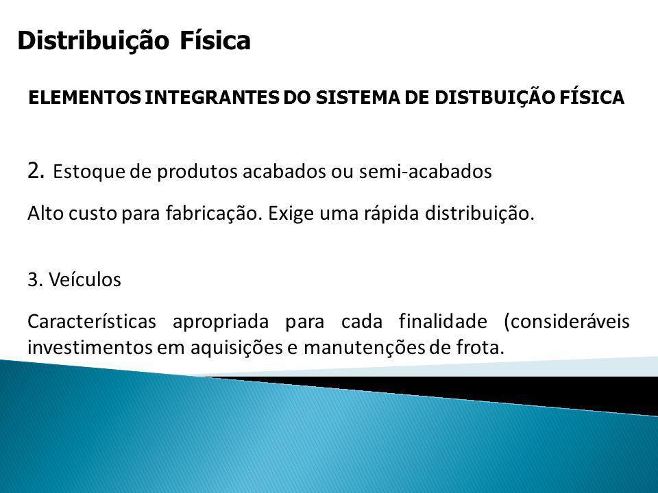 Distribuição Física ELEMENTOS INTEGRANTES DO SISTEMA DE DISTBUIÇÃO FÍSICA 3. Veículos Características apropriada para cada finalidade (consideráveis i