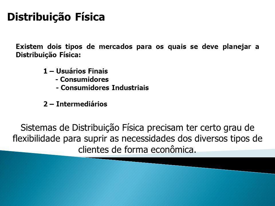Distribuição Física Existem dois tipos de mercados para os quais se deve planejar a Distribuição Física: 1 – Usuários Finais - Consumidores - Consumid