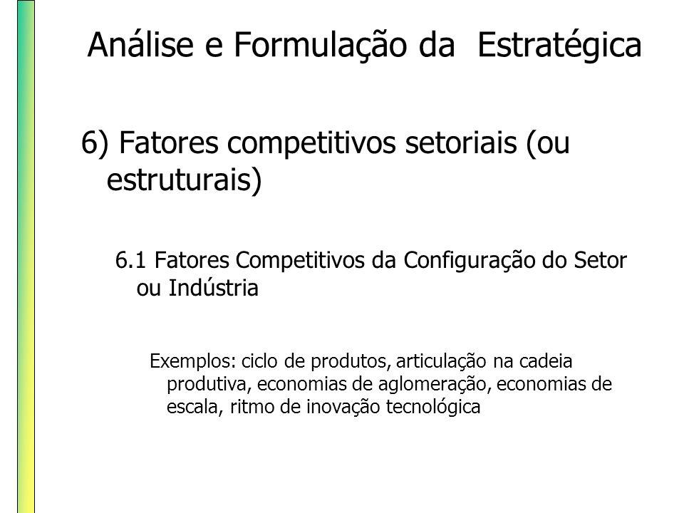 6) Fatores competitivos setoriais (ou estruturais) 6.2 Fatores Competitivos da Demanda no setor Exemplos: taxa de crescimento da demanda, distribuição geográfica, segmentação de renda Análise e Formulação da Estratégica