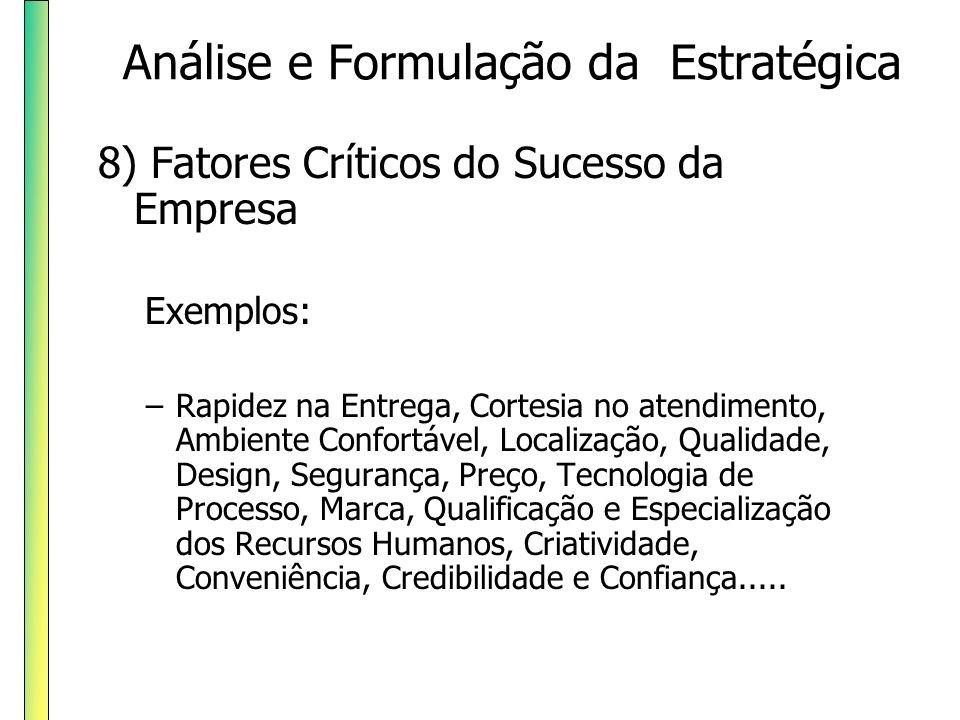 9) Análise da situação da empresa diante das Forças Competitivas e de oportunidades decorrentes da análise da Cadeia de Valor Análise e Formulação da Estratégica