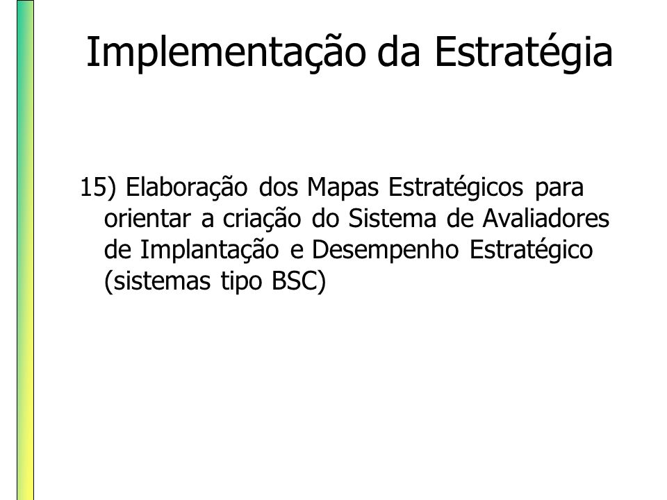 Implementação da Estratégia 16) Determinação de Objetivos, Indicadores e Metas do BSC