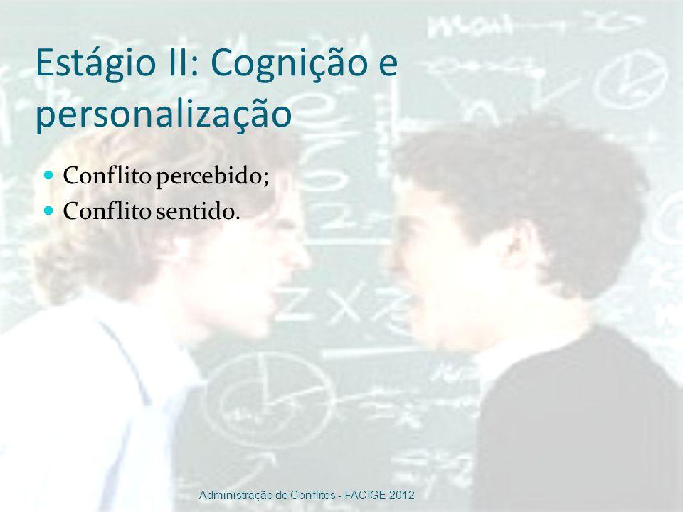Estágio II: Cognição e personalização Conflito percebido; Conflito sentido. Administração de Conflitos - FACIGE 2012