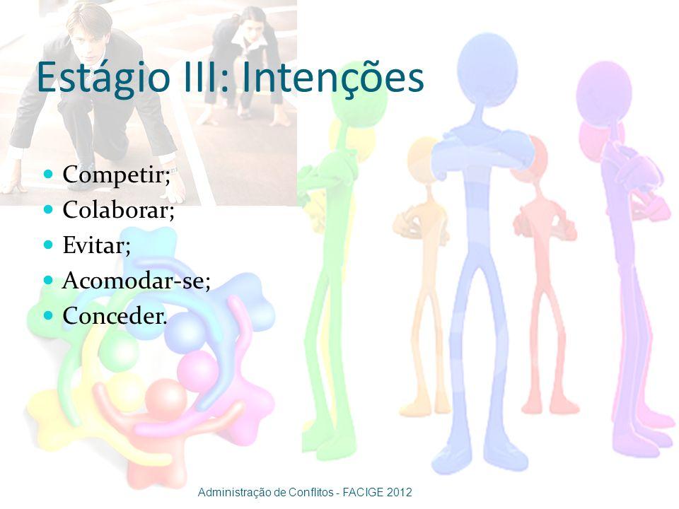 Estágio III: Intenções Competir; Colaborar; Evitar; Acomodar-se; Conceder. Administração de Conflitos - FACIGE 2012