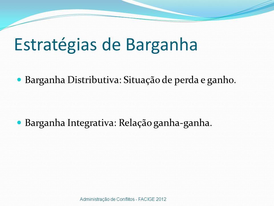 Estratégias de Barganha Barganha Distributiva: Situação de perda e ganho. Barganha Integrativa: Relação ganha-ganha. Administração de Conflitos - FACI