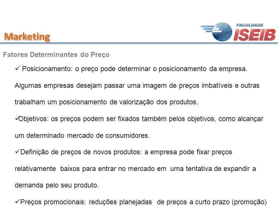 Marketing Fatores Determinantes do Preço Posicionamento: o preço pode determinar o posicionamento da empresa. Algumas empresas desejam passar uma imag