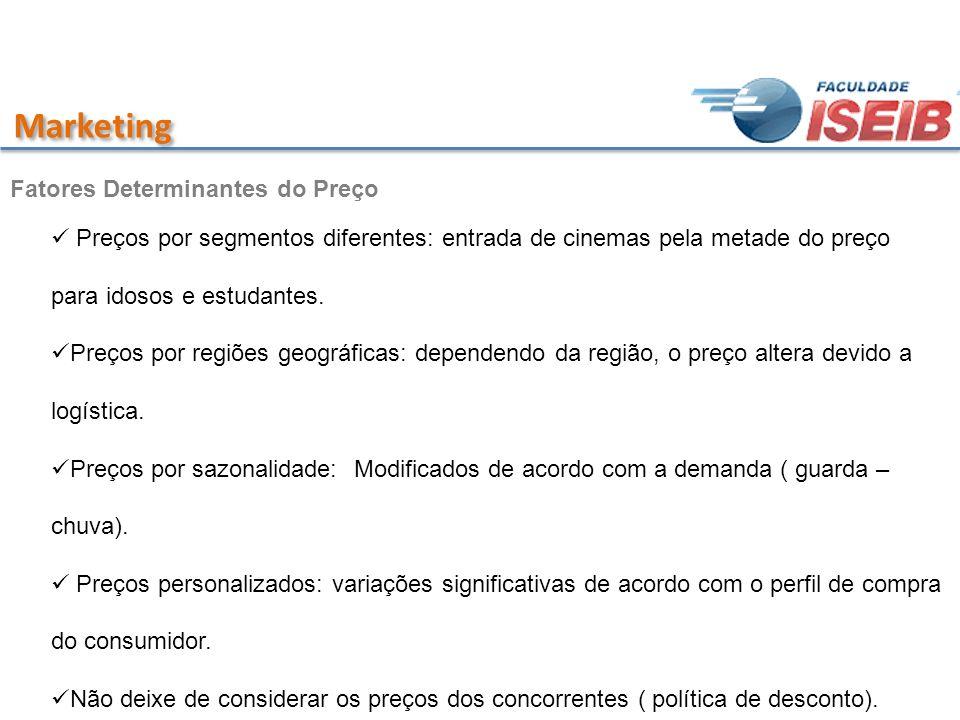 Marketing Preços por segmentos diferentes: entrada de cinemas pela metade do preço para idosos e estudantes. Preços por regiões geográficas: dependend
