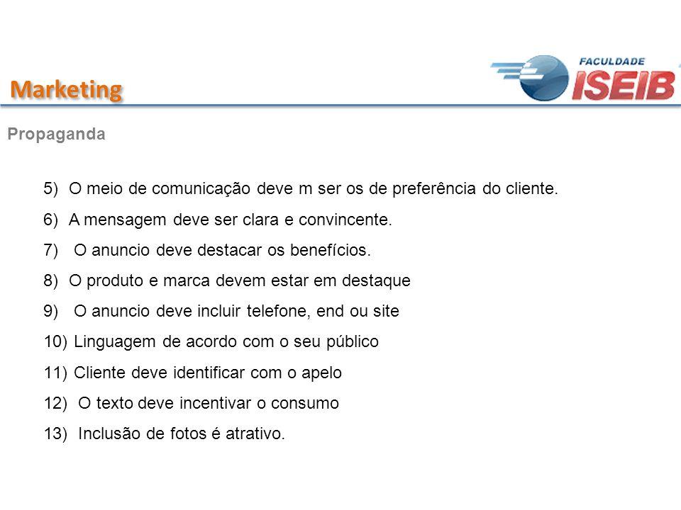 Marketing 5)O meio de comunicação deve m ser os de preferência do cliente. 6)A mensagem deve ser clara e convincente. 7) O anuncio deve destacar os be