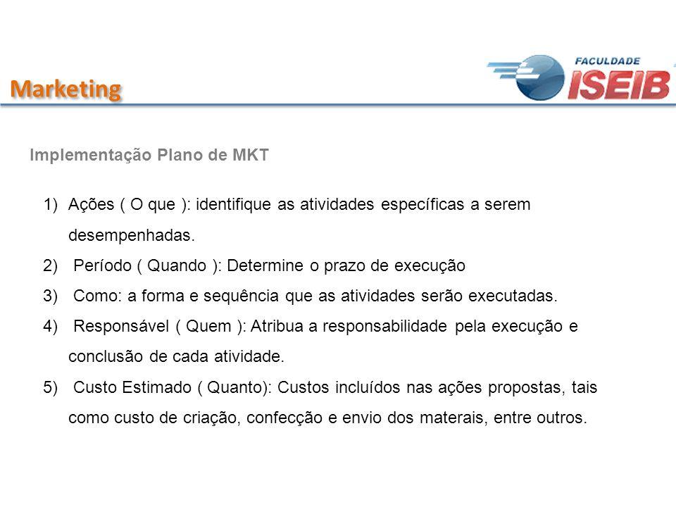 Marketing Implementação Plano de MKT 1)Ações ( O que ): identifique as atividades específicas a serem desempenhadas. 2) Período ( Quando ): Determine