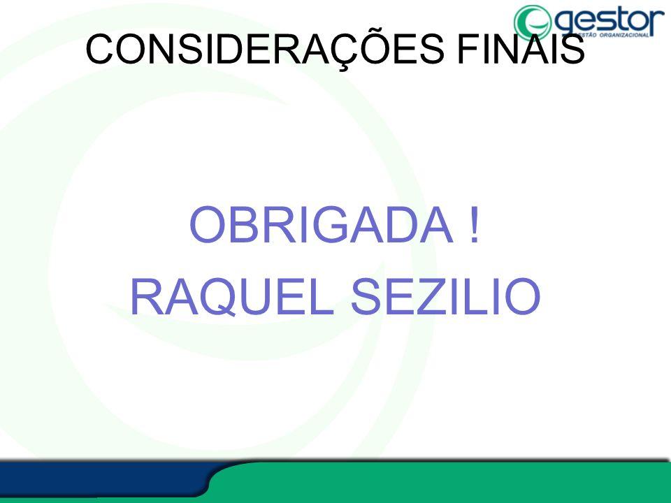 CONSIDERAÇÕES FINAIS OBRIGADA ! RAQUEL SEZILIO