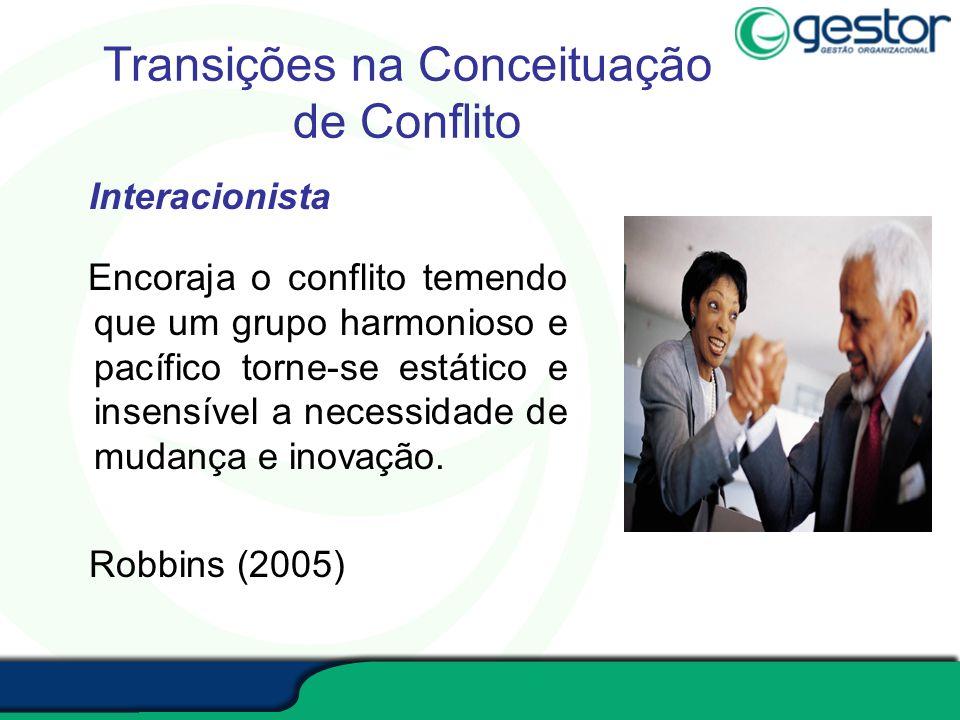 Transições na Conceituação de Conflito Interacionista Encoraja o conflito temendo que um grupo harmonioso e pacífico torne-se estático e insensível a