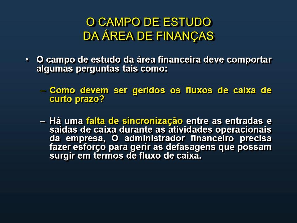 O CAMPO DE ESTUDO DA ÁREA DE FINANÇAS O campo de estudo da área financeira deve comportar algumas perguntas tais como:O campo de estudo da área financeira deve comportar algumas perguntas tais como: – –Como devem ser geridos os fluxos de caixa de curto prazo.