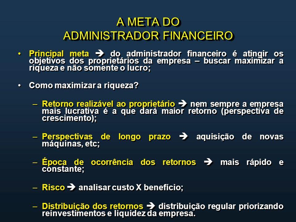 A META DO ADMINISTRADOR FINANCEIRO Principal meta do administrador financeiro é atingir os objetivos dos proprietários da empresa – buscar maximizar a riqueza e não somente o lucro; Como maximizar a riqueza.