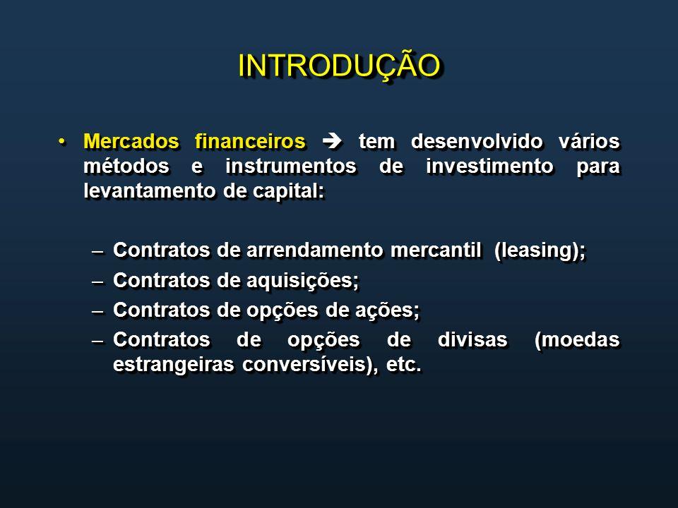 INTRODUÇÃOINTRODUÇÃO Mercados financeiros tem desenvolvido vários métodos e instrumentos de investimento para levantamento de capital:Mercados financeiros tem desenvolvido vários métodos e instrumentos de investimento para levantamento de capital: –Contratos de arrendamento mercantil (leasing); –Contratos de aquisições; –Contratos de opções de ações; –Contratos de opções de divisas (moedas estrangeiras conversíveis), etc.