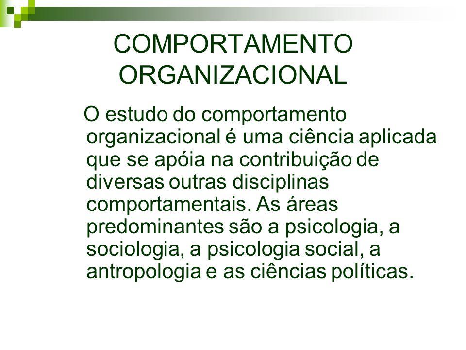 COMPORTAMENTO ORGANIZACIONAL O estudo do comportamento organizacional é uma ciência aplicada que se apóia na contribuição de diversas outras disciplin