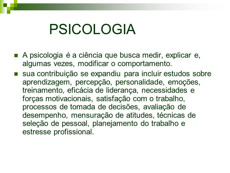 PSICOLOGIA A psicologia é a ciência que busca medir, explicar e, algumas vezes, modificar o comportamento. sua contribuição se expandiu para incluir e