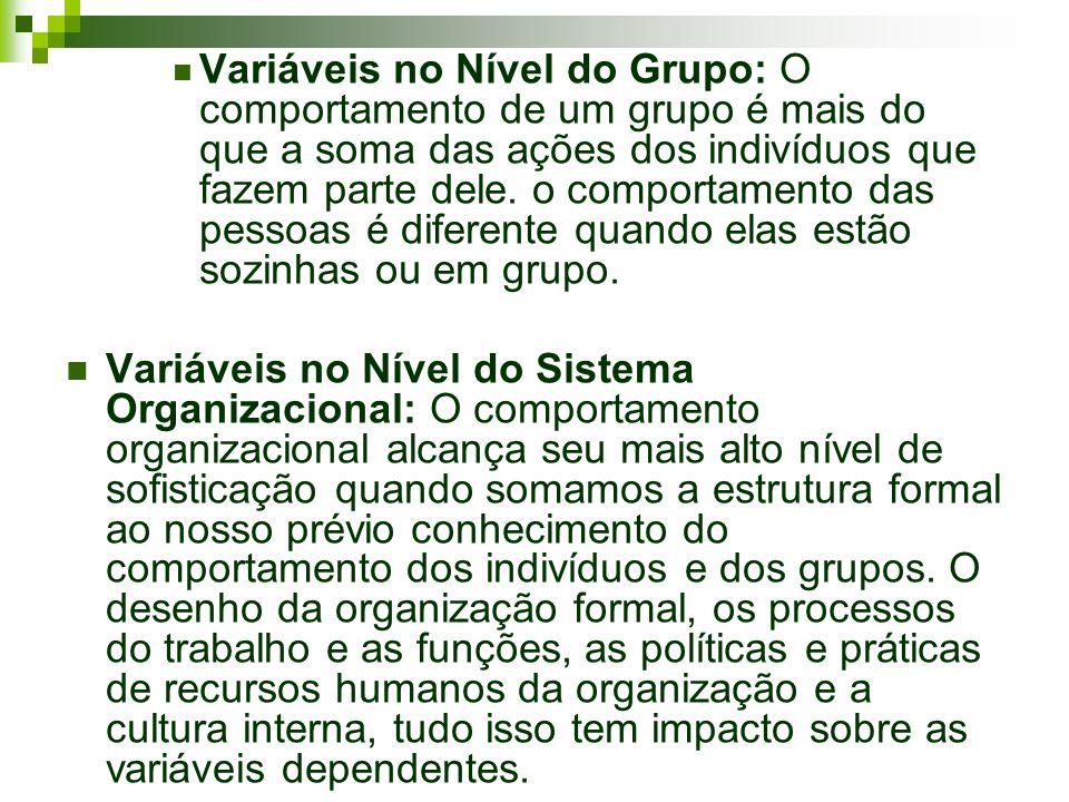 Variáveis no Nível do Grupo: O comportamento de um grupo é mais do que a soma das ações dos indivíduos que fazem parte dele. o comportamento das pesso