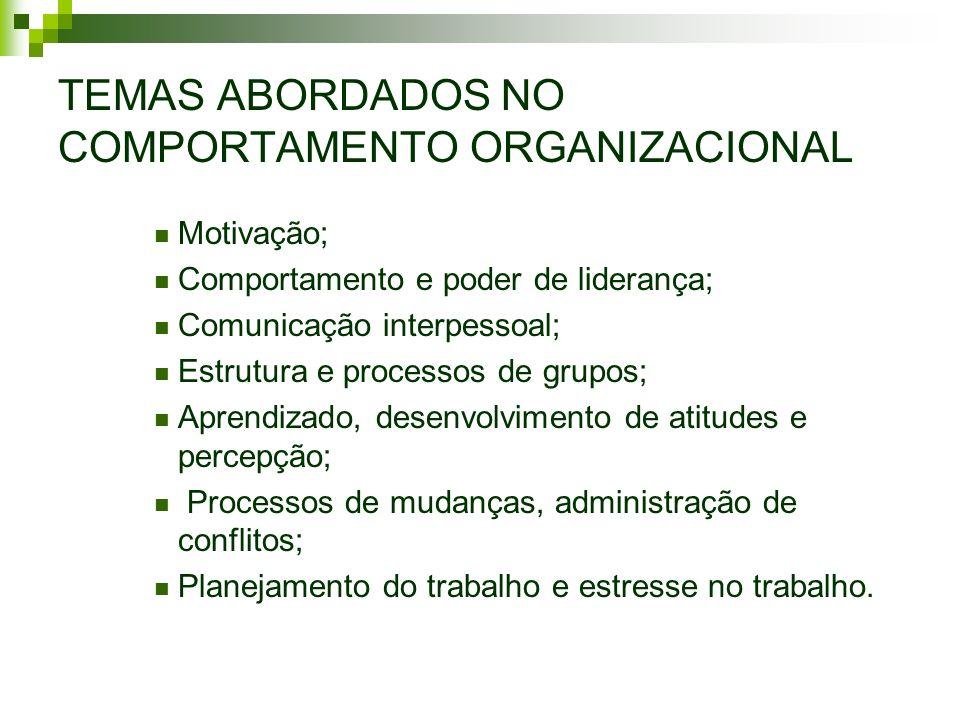 TEMAS ABORDADOS NO COMPORTAMENTO ORGANIZACIONAL Motivação; Comportamento e poder de liderança; Comunicação interpessoal; Estrutura e processos de grup